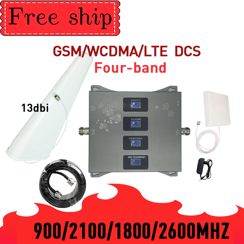 GSM WCDMA LTE DCS 900/1800/2100/2600mhz Four Band Cell Phone Signal Booster 2G 3G 4G 70dB Gain Mobile Cellular Signal Repeater