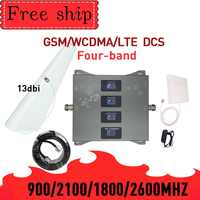 GSM WCDMA LTE DCS 900/1800/2100/2600mhz vier band Handy Signal Booster 2G 3G 4G 70dB gain Handy Cellular Signal Repeater