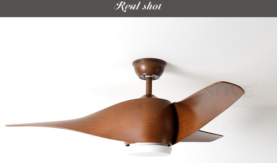 SOVE Brown Vintage Ceiling Fan With Lights Remote Control Ventilador De Techo 220 Volt Bedroom Ceiling Light Fan Lamp LED Bulbs