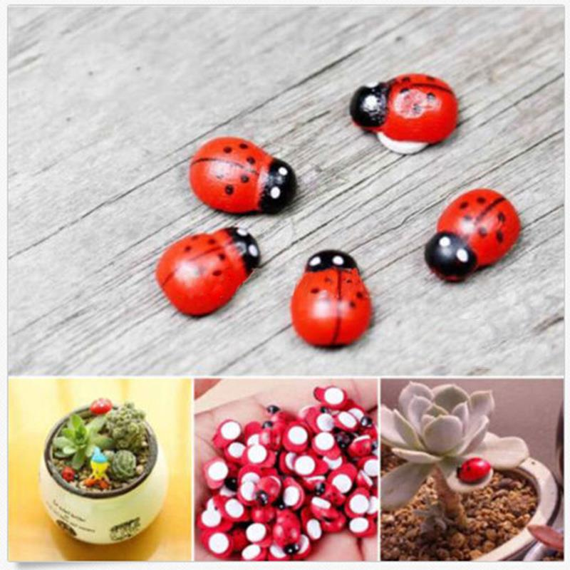NEW Hot Sale 10Pcs Miniature Coccinella Septempunctata Resin Crafts DIY Little Garden Decorations