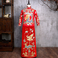 2019 new models Male Red Cheongsam Chinese Style Costume The Groom Dress Jacket Long Gown Traditional Chinese Wedding QiPao Suit