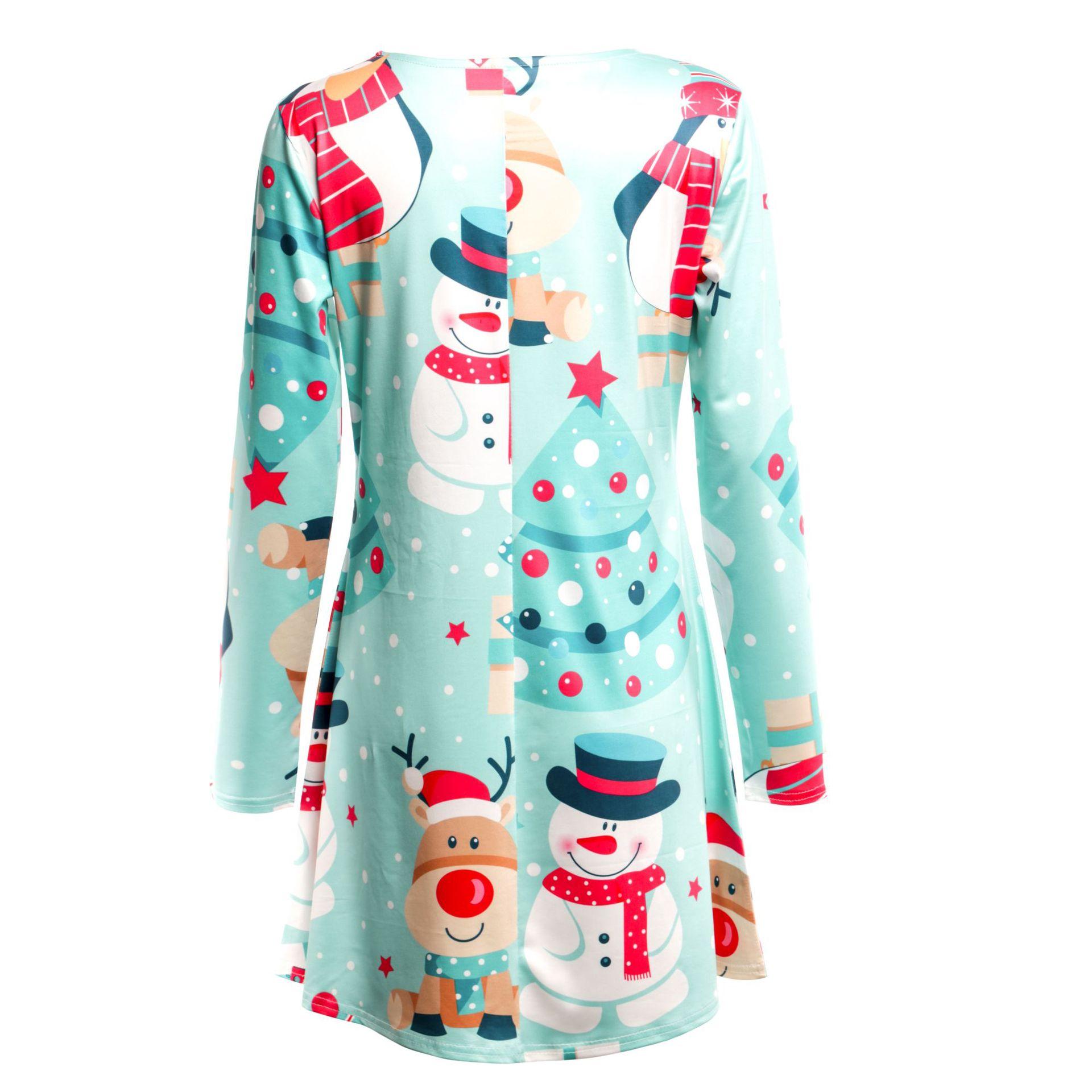 Print Long Sleeve Autumn Winter Christmas Dress Women 19 Casual Loose Short Party Dress Plus Size S-5XL Vestidos 16