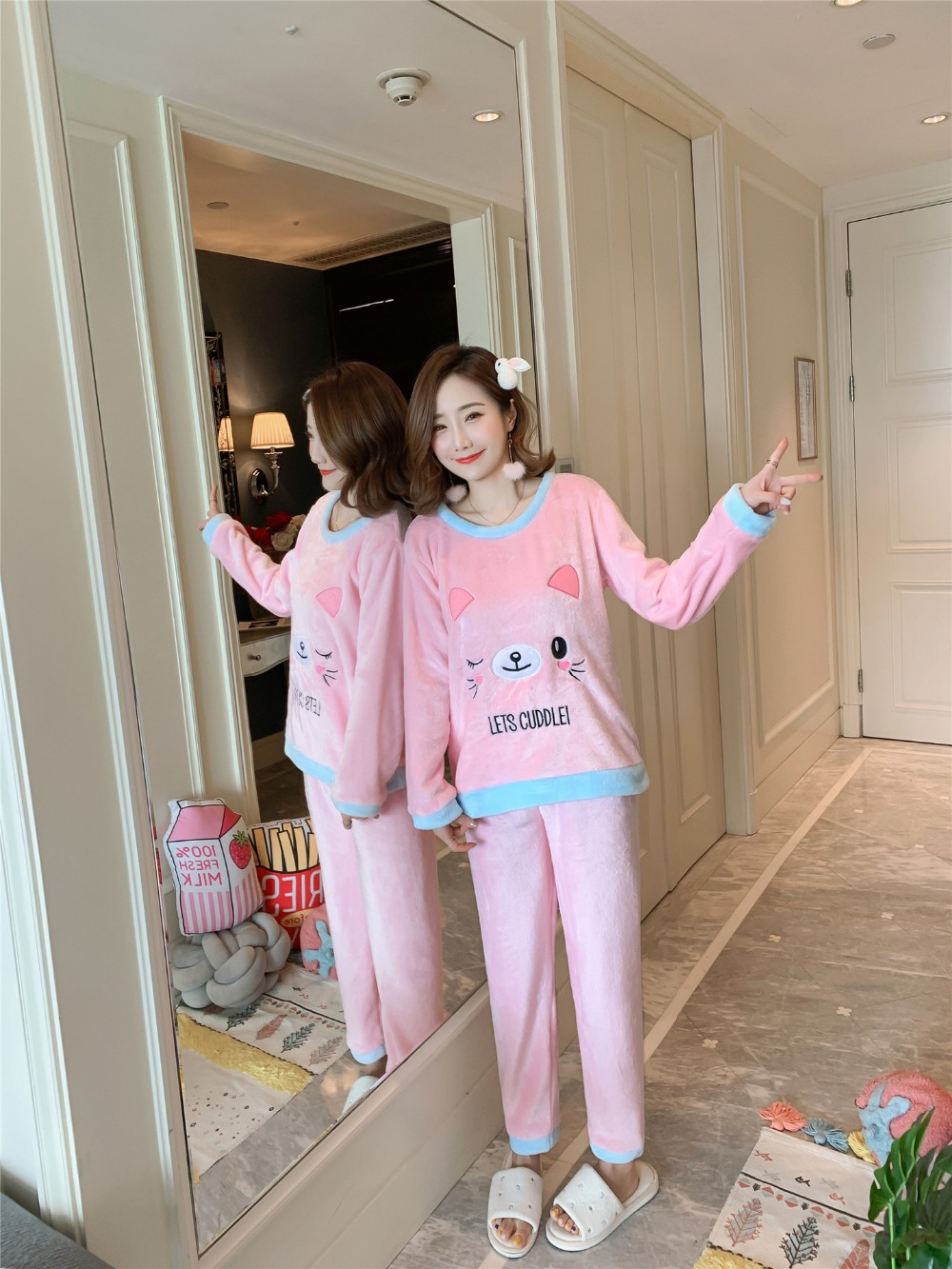 Betyline 2019 New Winter Pajamas For Women Sleepwear Warm Flannel Long Sleeves Pajamas Cute Animal Homewear Thick Homewear 140