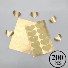 200Pcs/Lot Gold Heart Shape Labels Stickers Paper Thank you Cards For Wedding /Party Business Card Envelope Gifts Decoration Sta