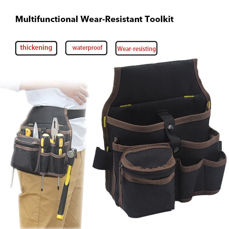 High Capacity Tool Bag Waist Pockets Electrician Tool Bag Oganizer Carrying Pouch Tools Bag Belt Waist Pocket Case Tool Belt