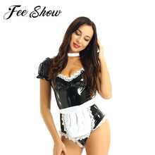 Adult Women French Maid Cosplay Latex Outfit Costume Sexy Square Neck Puff Sleeve Leather Leotard Bodysuit and Lace Choker Apron