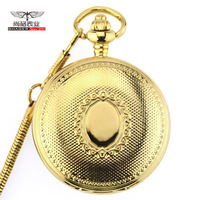 Retro Golden Case Skeleton Vintage Roman Number Flower Dial Men Mechanical Pocket Watch With Chain for Luxury Gifts