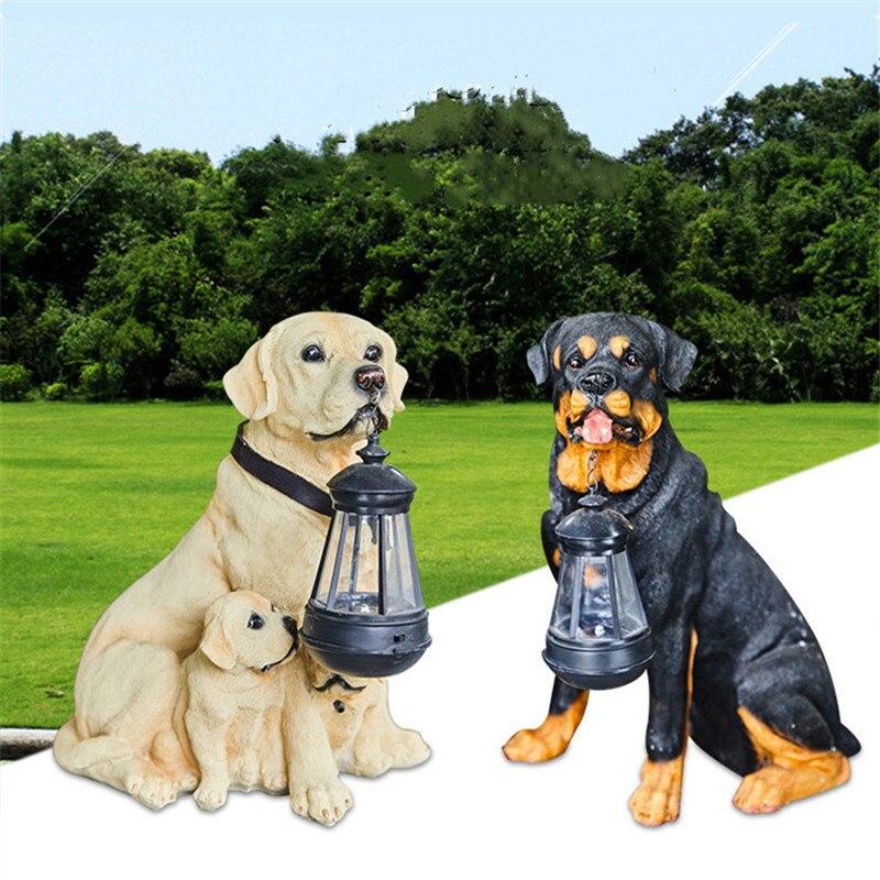 Garden Decoration Outdoor Garden Statue Outdoor Solar Light Simulation Animal Resin Puppy Dog Home Decor A1659