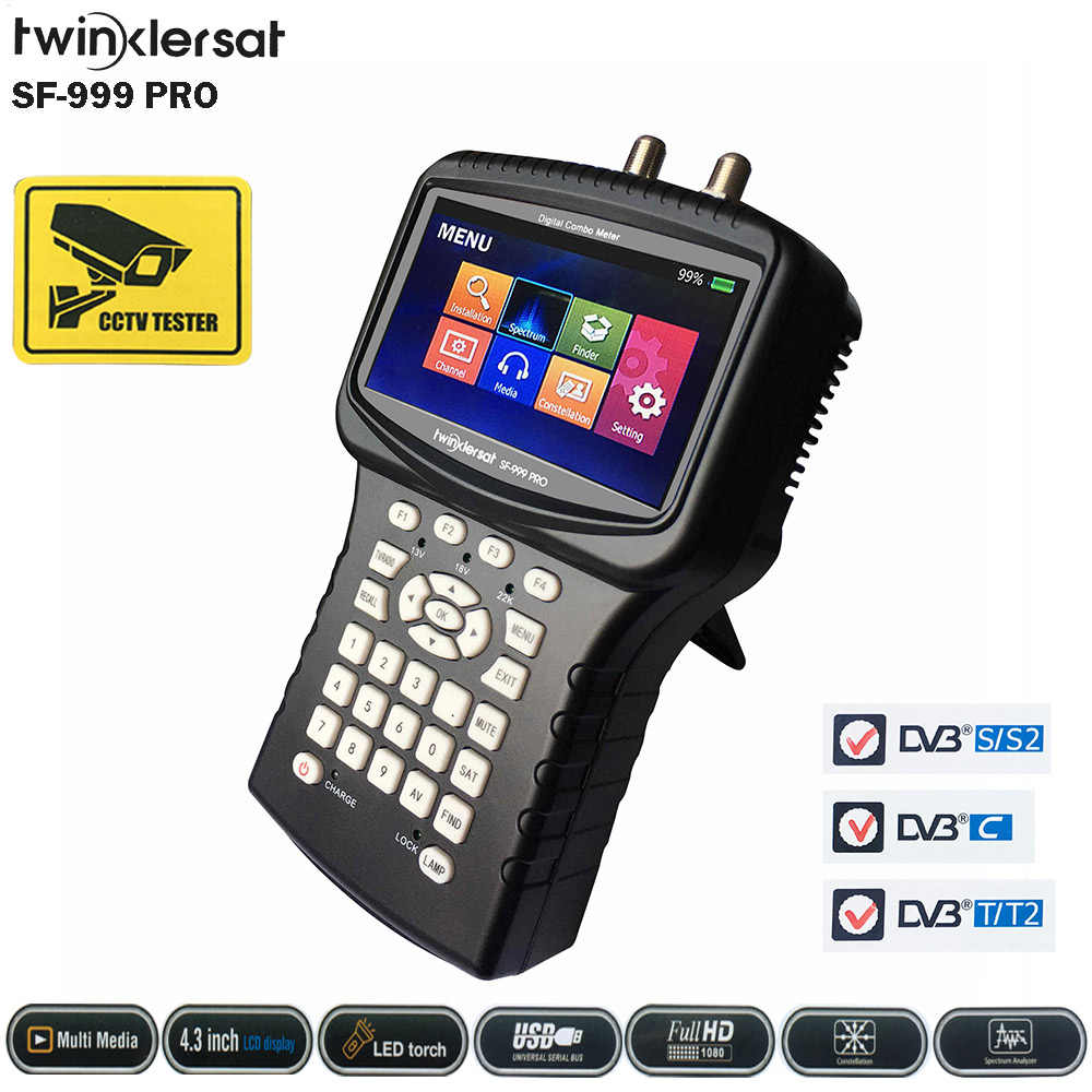 Twinkler SF-999 PRO HD Combo Sinyal Finder Meter 4.3 Inci Layar DVB-S2 DVB-T2 DVB-C Analyzer Spectrum CS Youtube Kamera CCTV