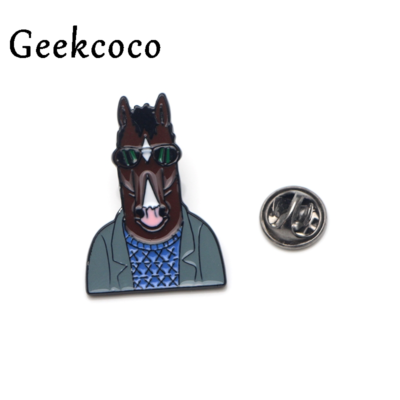 Horse man BoJack Punk Zinc alloy tie vintage pins badges para shirt clothes cap backpack shoes brooches badges decorations J0118 in Brooches from Jewelry Accessories