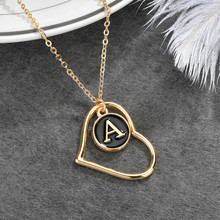 Hollow Heart With Alphabets Letter A-Z Pendant Necklace For Women Personality Necklaces Popular Design Trendy Jewelry Gold Color a suit of stylish solid color heart shape letter carving pendant necklace for women