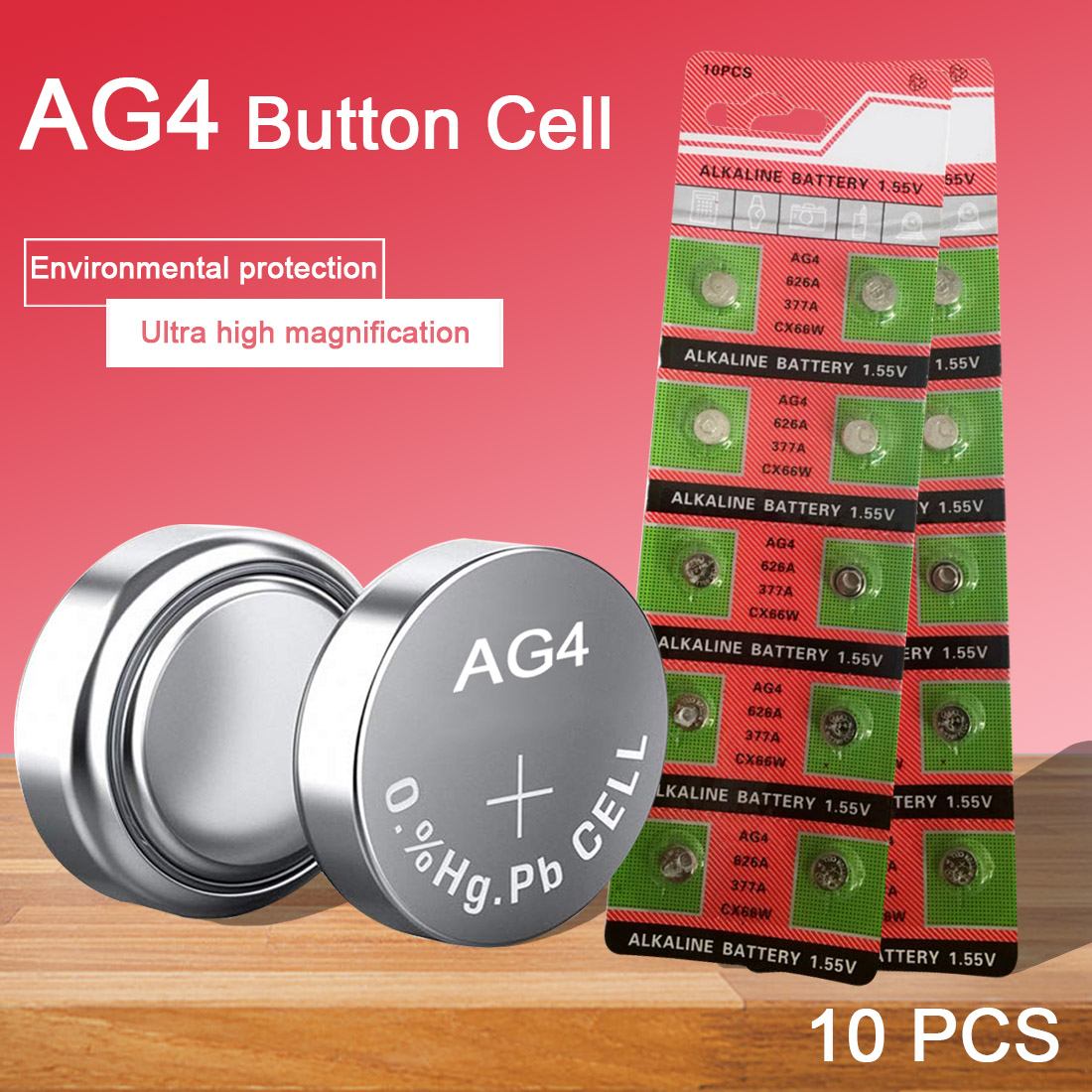 10PCS 1.55V AG4 Watch Battery 626A 377A CX66W Coin Cell Alkaline Batteries for Toy Calculator Laser Pointer Clock Watch Cameras