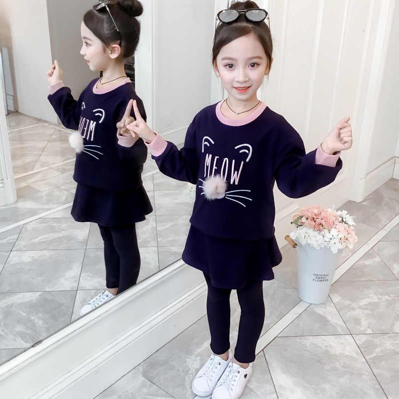 Meisjes 2019 Herfst Grote Jongen Casual Koreaanse Stijl Kat Broek Lange Mouwen Sportkleding Tweedelige Set