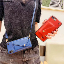 PU Leather crossbody Case For iphone XR X Xs max 6 6S plus 8 7 plus phone case Luxury card wallet with shoulder strap back cover(China)