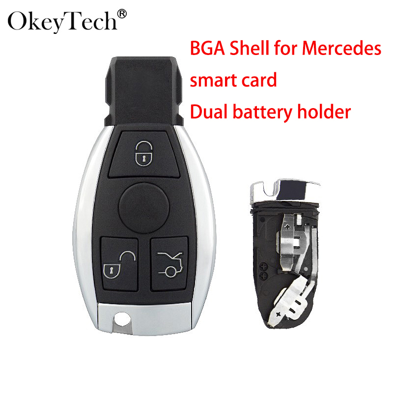 Okeyetch 3 Buttons Remote Smart Fob <font><b>Key</b></font> shell For <font><b>MB</b></font> Mercedes Benz CLS C E S W124 W202 with Battery Holder Uncut Blank Blade image