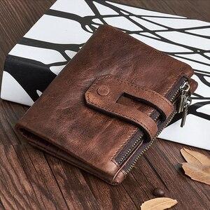 Мужские кошельки из натуральной кожи с натуральным лицевым покрытием, кошелек из коровьей кожи, держатель для карт, кожаный бумажник RFID