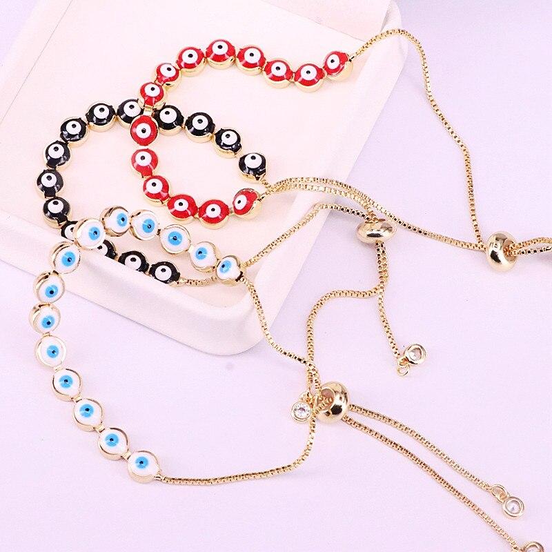 10Pcs Lucky Black White Red enamel Eyes Charm Bracelet Eye Beaded Bangle For Women New Fashion Jewelry Gift(China)