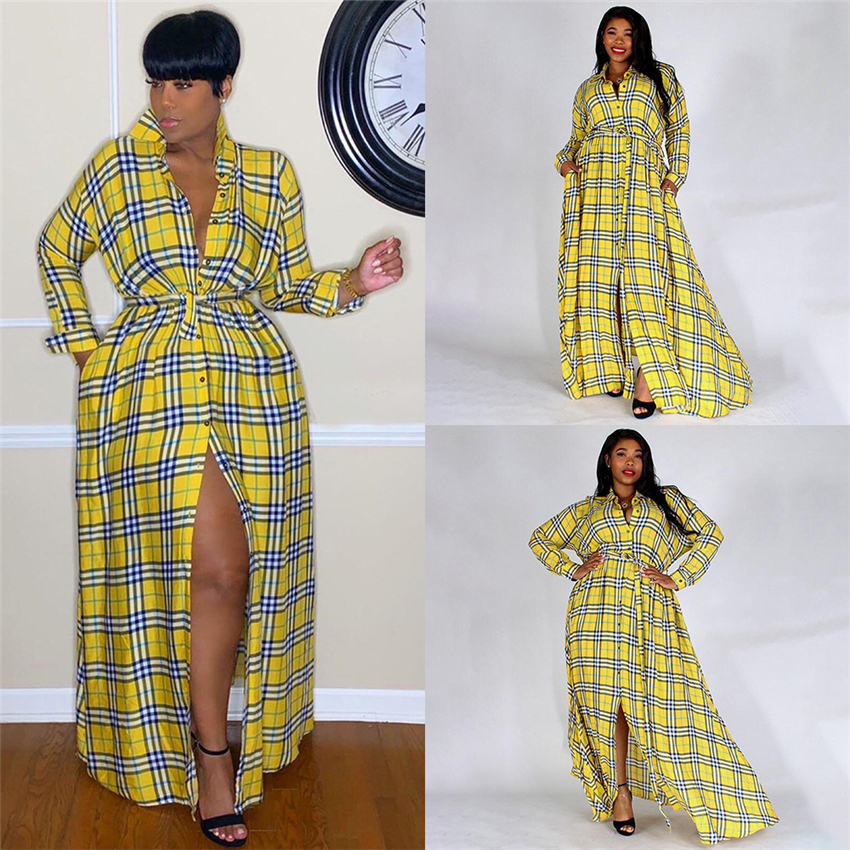 Neu Frau Afrikanische Mode Kleid Plaid Print Eleganten Dashiki Lange Hemd Frühling Dame Gelb Bazin Party Split Band Maxi