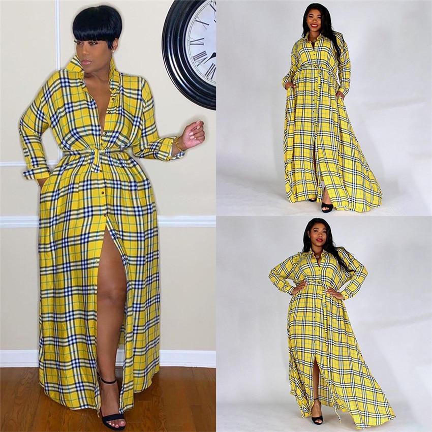 Newly Woman African Fashion Dress Plaid Print Elegant Dashiki Long Shirt Spring Lady Yellow Bazin Party Split Ribbon Maxi