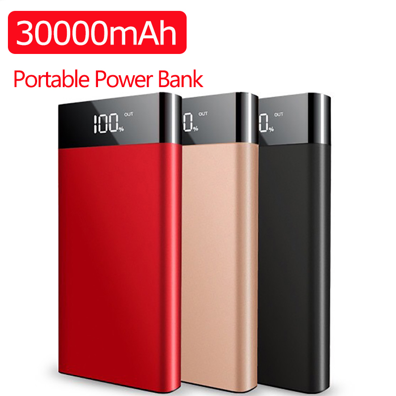 30000mAh Ultrathin Power Bank Fast Charge Slim Powerbank Dual Usb LED Digital Display Portable Charger For Xiaomi IPhone Huawei