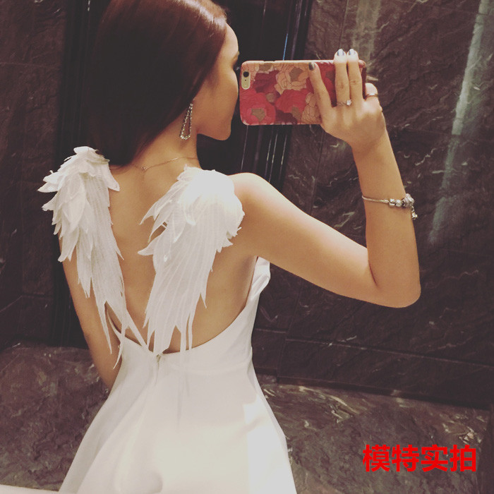 PRE-SALE Sexy Goddess Wing Backless Strapped Dress Waist Hugging Slimming Puffy Short Skirt Small Dress