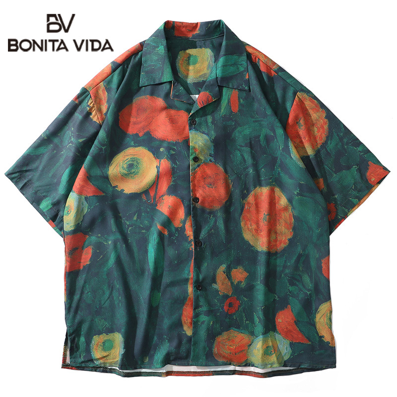 Bonita Vida Flowers Printed Hip Hop Shirts Men 2020 Summer Harajuku Japanese Style Short Sleeve Hawaiian Shirts Streetwear