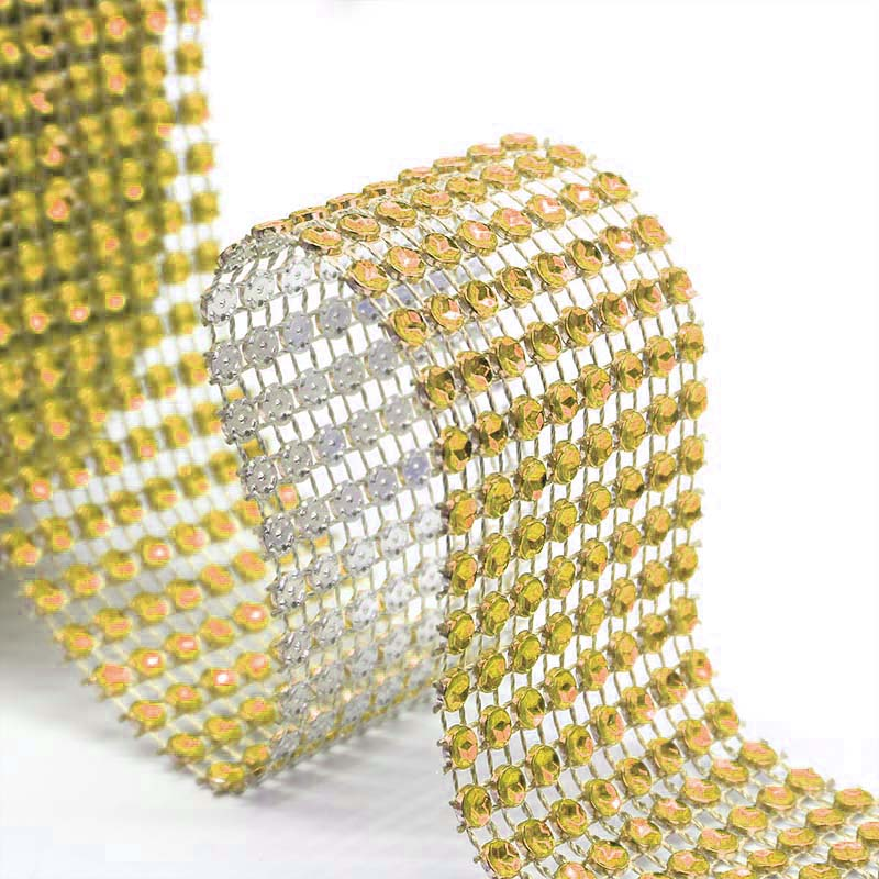 1 Roll 8/24 Rows Gold Silver Crystal Diamond Mesh Rhinestone Ribbon for Birthday Wedding DIY Decoration Cake Wrap Crystal Tulle