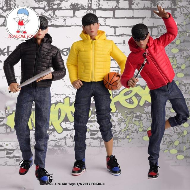 1/6 skala Männlichen Kleidung Set FG040 Unten Jacken Mantel Kleidung Schuhe Anzug Schwarz/Gelb/Rot Fit 12 Zoll körper Action Figur