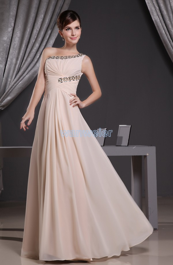 free shipping 2016 hot special occasion dress one shoulder crystal formal custom size/color evening gown chiffon evening dress
