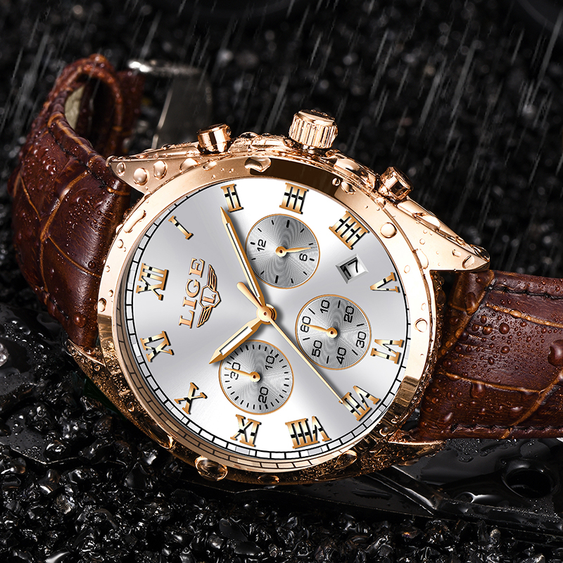 Mens Watches LIGE Top Brand Luxury Leather Business Waterproof Watch Men Fashion Date Chronograph Male Quartz Clock Relojes 2019