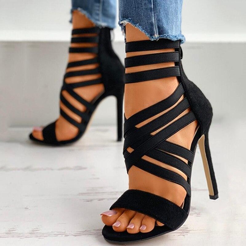 Pumps Women Shoes High Heels Women Sandals 2021 Zipper New Fashion Summer High Heels Sexy Ladies