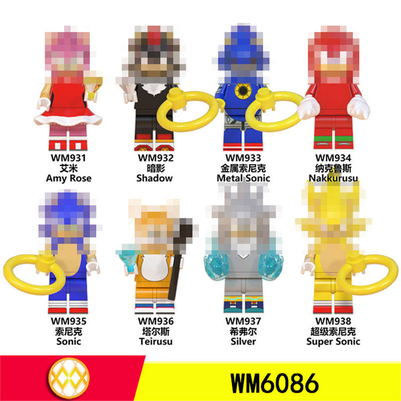WM6086 Super Series Sonicing Blocks Game Anime Shadow Knuckles Girl Snow World Animal Hedgehog Action Figures Toys For Children