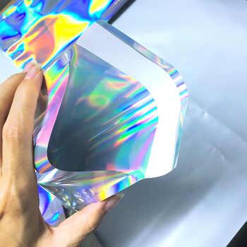100pcs เลเซอร์พลาสติกปิดผนึกด้วยตนเองซองถุงเก็บเอกสาร Holographic ของขวัญเครื่องประดับ POLY กาว Courier บรรจุภัณฑ์ถุง