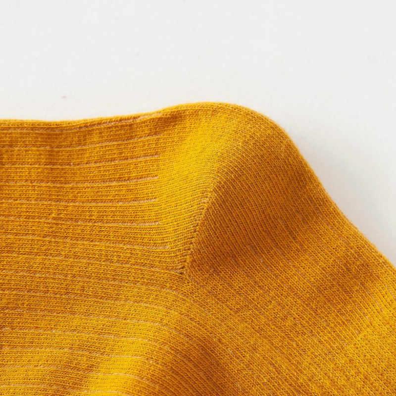 綿ルースストライプクルーソックスカラフルな女性ソックス原宿デザイナーレトロ黄色ホワイトおかしいかわいい日本女子高生