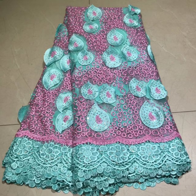 Green   Veritable Tulle Lace With Stones Fabric Floral Embroidery  African Nigerian High Quality Sewing Lace Dress