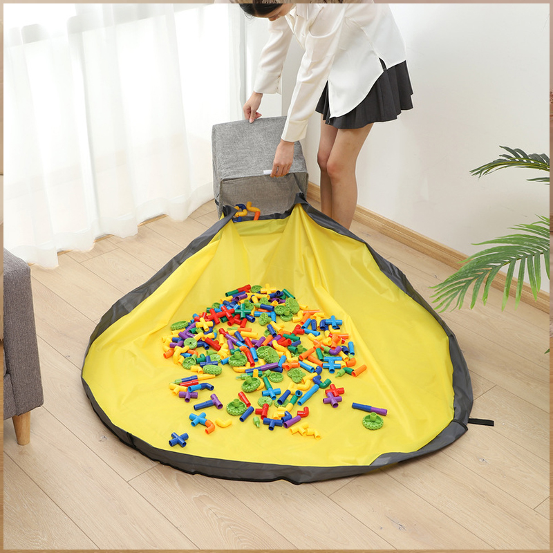 New Square Portable Foldable Kids Play Toy Clean-up Storage Bag Multifunctional Portable Toys Waterproof Organizer Bucket Bags