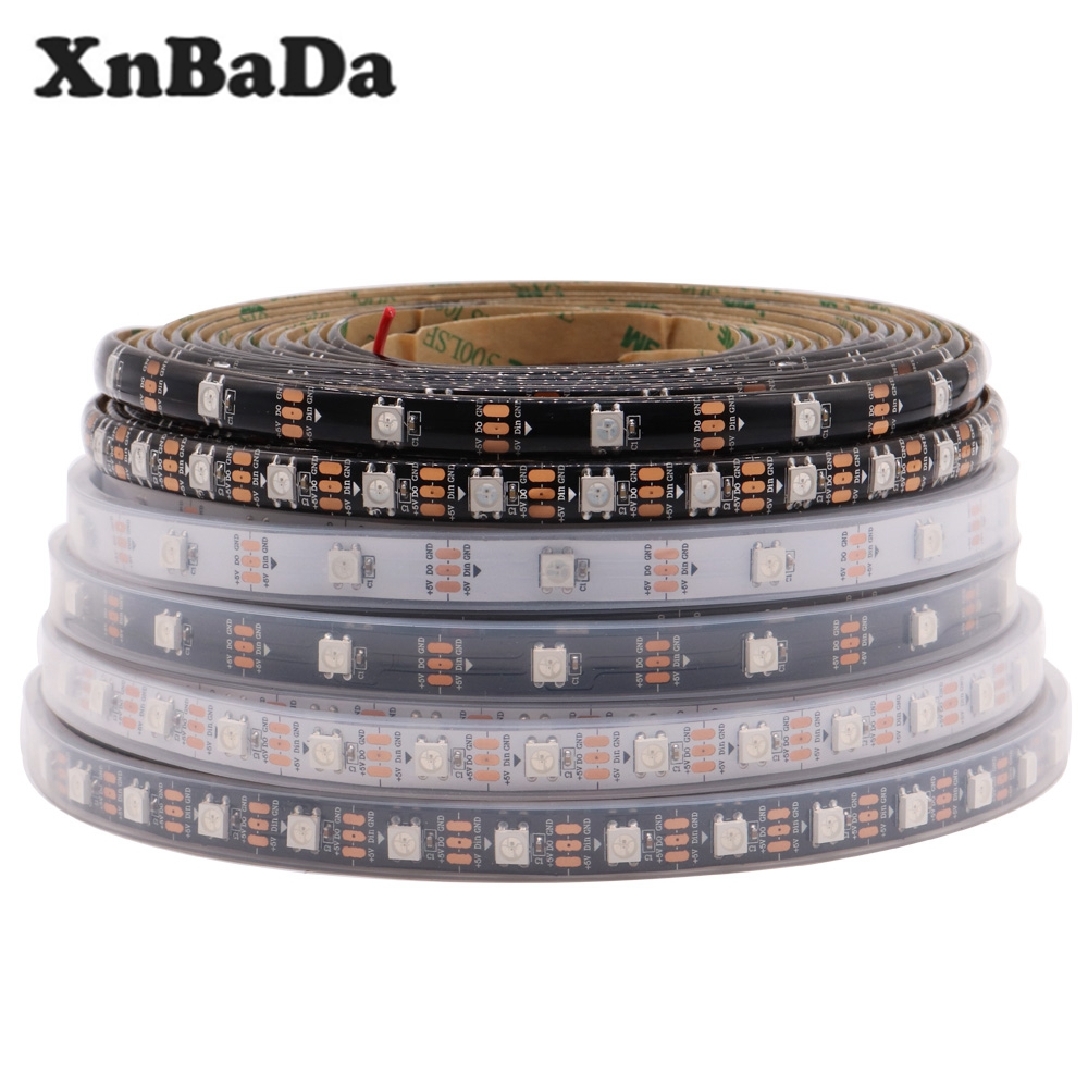 WS2812B Led Strip 30/60/74/96/144 leds/m WS2812 Black/White PCB IP30/65/67 Smart RGB Led Light Strip DC5V 1M 2M 3M 4M 5M image