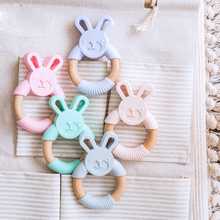 1pc Baby Toys Silicone Teether Cartoon Animal Rabbit Ring BPA Free Teething Accessories Chew Toys Food Grade Baby Teether