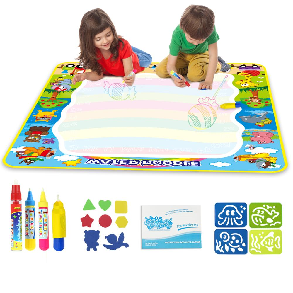 100*100cm Kids Funny Animal Magic Water Doodle Mat With 3 Pens & 1 Stamp Set Coloring Drawing Mat Painting Board Educational Toy