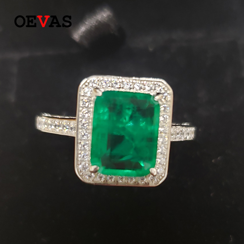 OEVAS Solid 925 Sterling Silver Emerald Diamonds Gemstone Wedding Engagement Rings For Women Sparking Fine Jewelry Wholesale
