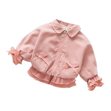 Emmababy Infant Fashion Baby Girl Outerwear Zipper Coats Autumn Winter Lace Patc
