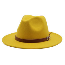 Vrouwen Mannen Brede Rand Wolvilt Jazz Fedora Hoeden Panama Stijl Cowboy Trilby Partij Formele Kleding Hoed Grote Size Geel wit(China)