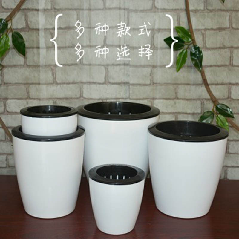 Garden Lazy Flower Pots Automatic Water - Absorbing Hydroponic Potted Flowers Pot Storage Plastic Bonsai Container Succulent Plants Gardening Home Office Decoration 1PC