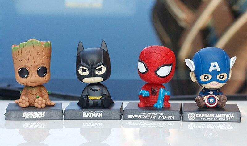 Украшение в виде Бэтмена, Человека-паука, грута, автомобиля, качающаяся голова, кукла, Капитан Америка, украшение интерьера автомобиля, аксессуары для автомобиля, игрушка, поддержка телефона