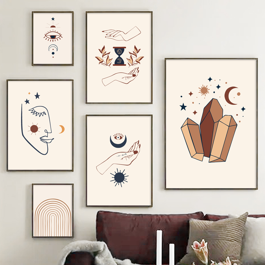 Ay güneş göz soyut çizgi yüz İskandinavya sanat tuval boyama İskandinav posterler ve baskılar duvar resimleri için oturma odası dekor