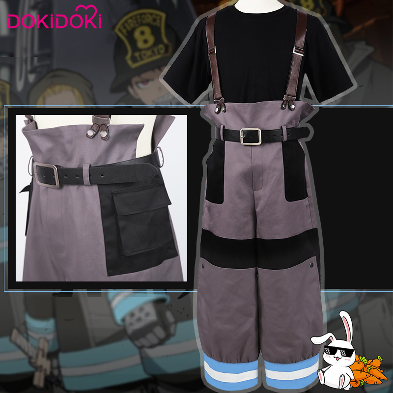 DokiDoki Anime Cosplay Fire Force Enen No Shouboutai Fire Brigade Uniform Shinra Kusakabe Men Anime Cosplay Costume
