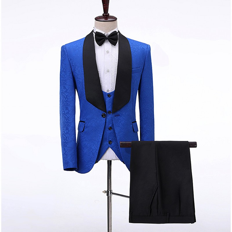 Men Suits Royal Blue And Black Groom Tuxedos Shawl Satin Lapel Groomsmen Wedding Best Man ( Jacket+Pants+Vest+Bow Tie ) C692