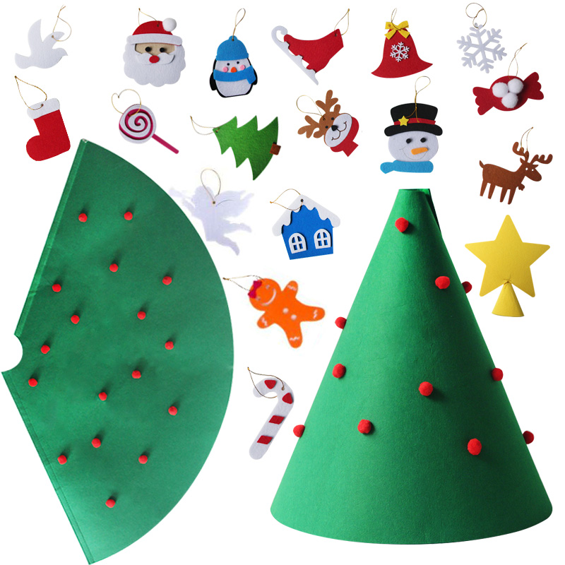 1set LED 3D DIY Felt Christmas Tree Kerst Decorations for Home Navidad New Year Kids Gifts Noel Merry ChristmasGift