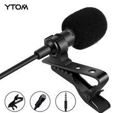 1.5m mini clip-no microfone do condensador da lapela da lapela com tomada da saída do fone de ouvido de 3.5mm, microfone omnidirecional do condensador para o telefone