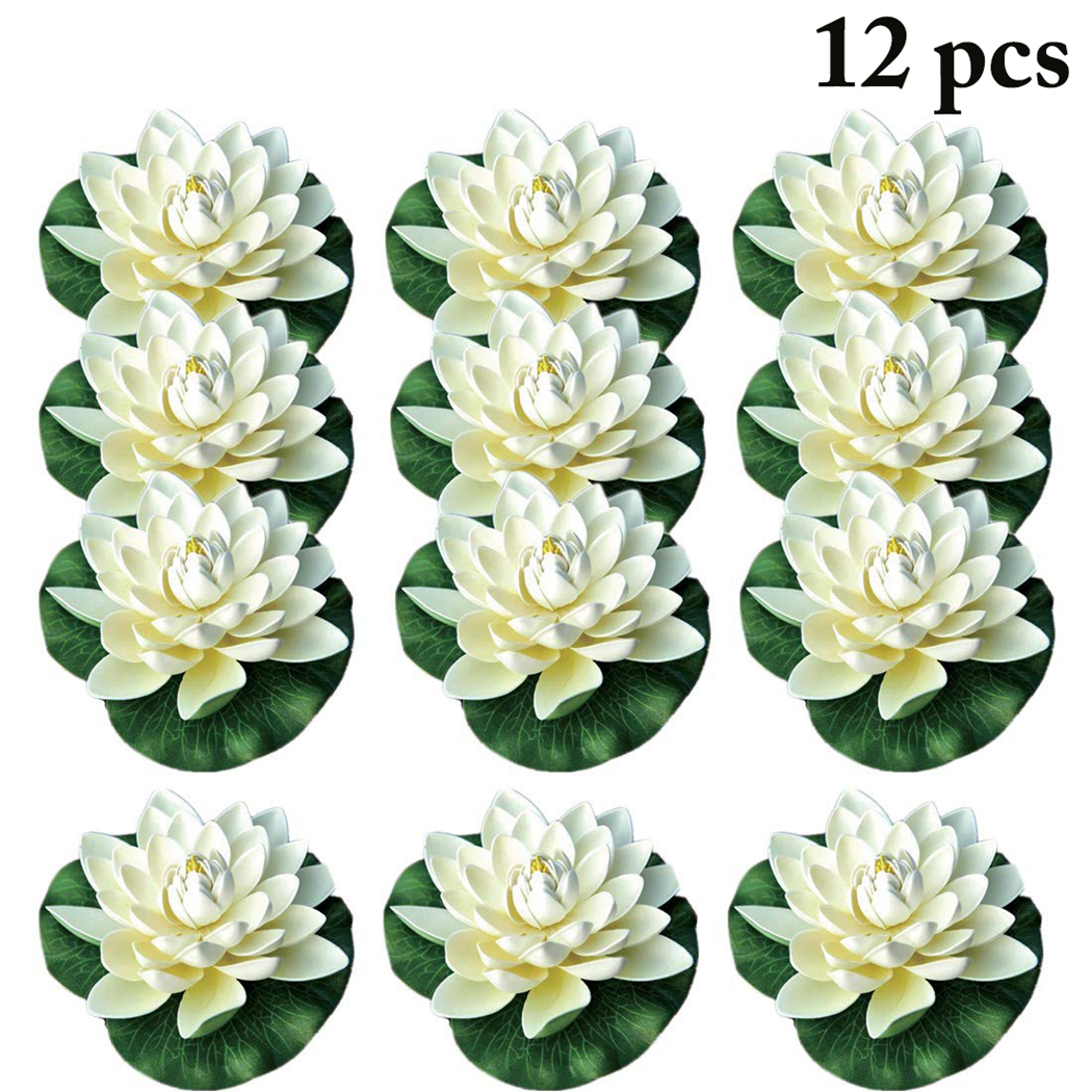 12pcs 18cm Floating Lotus Artificial Flower Wedding Home Party Garden Pool Decorations DIY Water Lily Mariage Fake Plants